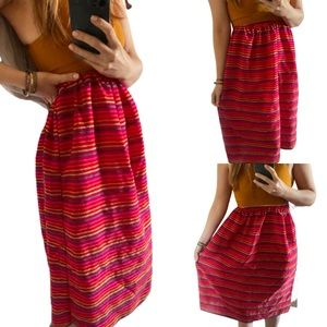 Authentic High Waist Mexican Red Maxi Ankle Skirt